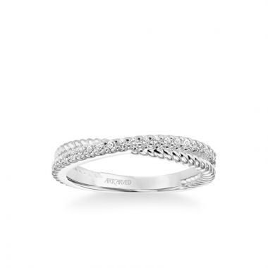 """ArtCarved Stackable Band with Diamond and Rope """"X"""" Design in 18k White Gold"""