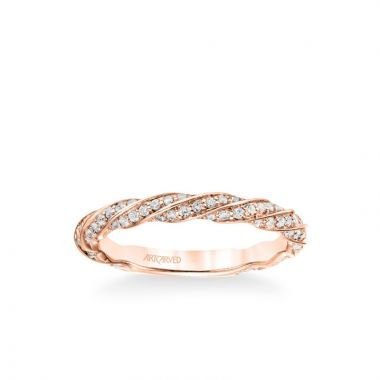 ArtCarved Stackable Band with Diamond Swirl Design in 14k Rose Gold