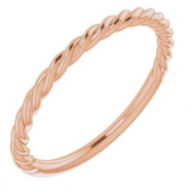 14K Rose 1.5 mm Twisted Rope Band Size 7