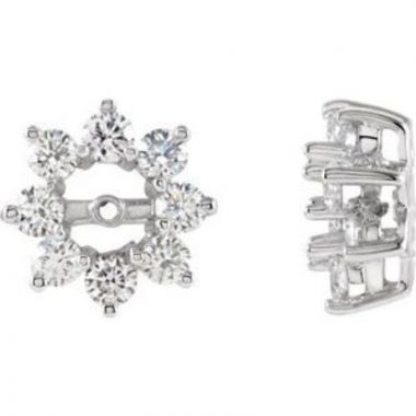 14K White 1 1/8 CTW Diamond Earring Jackets with 4.5mm ID
