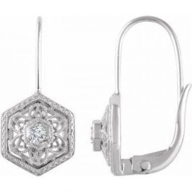14K White .06 CTW Diamond Filigree Earrings
