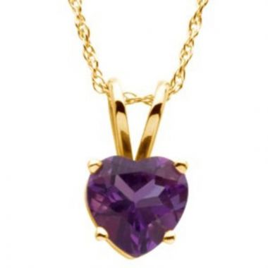 """14K Yellow 6x6 mm Heart Amethyst Solitaire 18"""" Necklace"""
