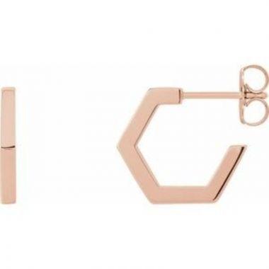14K Rose Geometric Hoop Earrings