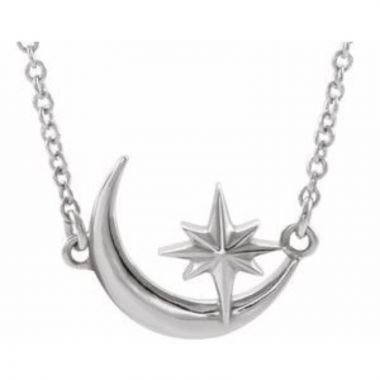 """Sterling Silver Crescent Moon & Star 16-18"""" Necklace"""