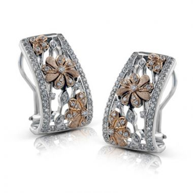 Simon G. 18k Two Tone Gold Garden Diamond Earrings