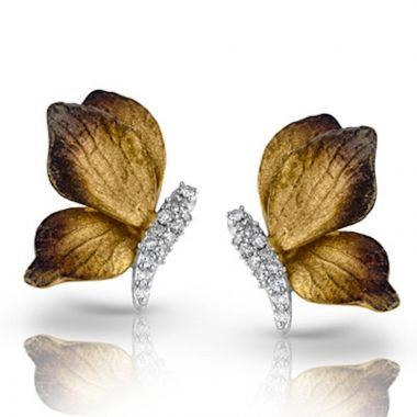 Simon G. 18k Two Tone Gold Organic Allure Diamond Stud Earrings
