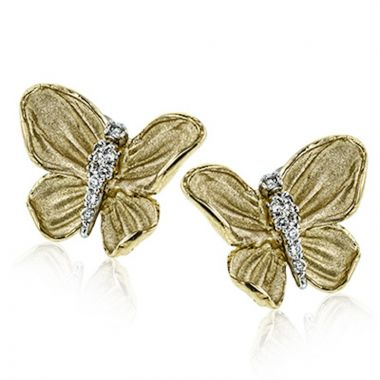 Simon G. 18k Yellow Gold Organic Allure Diamond Stud Earrings