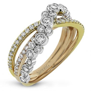 Simon G. 18k Tri Tone Gold Modern Enchantment Diamond Ring