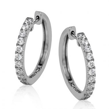 Simon G. 18k White Gold Modern Enchantment Diamond Hoop Earrings