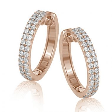Simon G. 18k Rose Gold Modern Enchantment Diamond Hoop Earrings