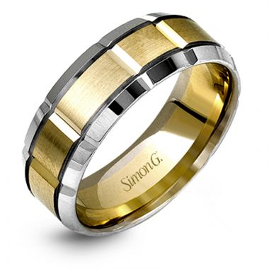 Simon G. 18k Two Tone Gold Men's Classic Wedding Band
