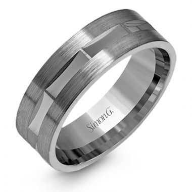 Simon G. 14k White Gold Men's Wedding Band