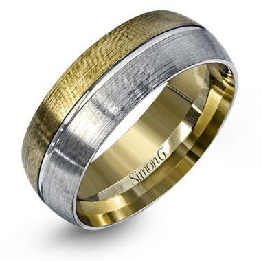 Simon G. 14k Two Tone Gold Men's Wedding Band