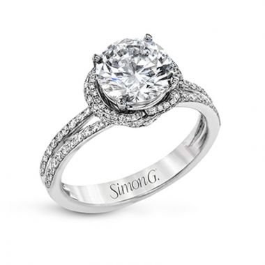 Simon G. 18k White Gold Classic Romance Diamond Halo Engagement Ring