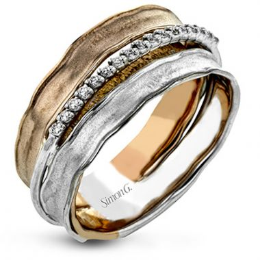 Simon G. 18k Two Tone Gold Classic Romance Diamond Ring