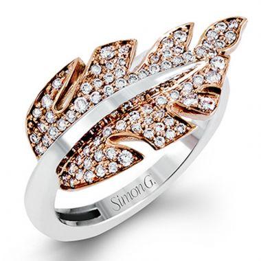 Simon G. 18k Two Tone Gold Garden Diamond Ring