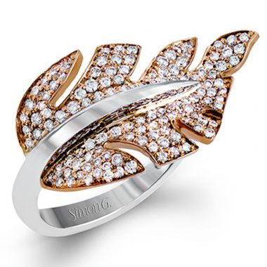 Simon G. 18k Two Tone Gold Garden Diamond Ring
