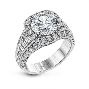 Simon G. 18k White Gold Passion Diamond Halo Engagement Ring