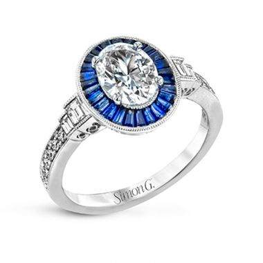 Simon G. 18k White Gold Classic Romance Diamond & Gemstone Halo Engagement Ring