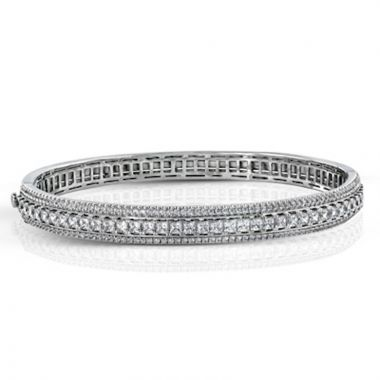 Simon G. 18k White Gold Nocturnal Sophistication Diamond Bangle Bracelet