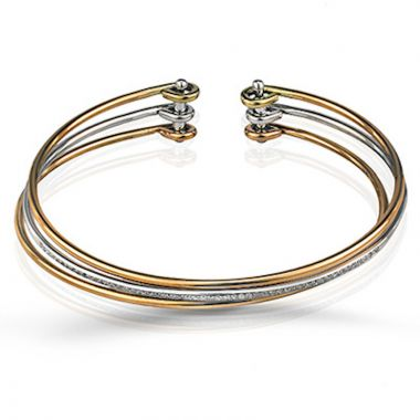Simon G. 18k Gold Tri Tone Classic Romance Diamond Bangle Bracelet