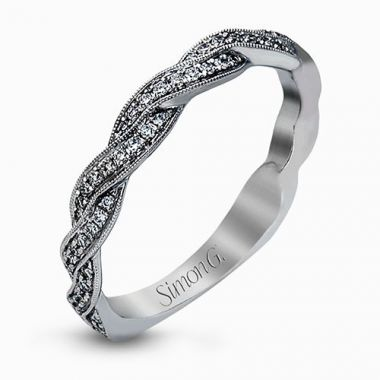 Simon G. 18k White Gold Diamond Twist Wedding Band