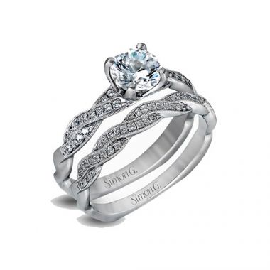 Simon G. 18k White Gold Engagement Ring and Wedding Band Set