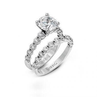 Simon G. 18k White Gold Bridal Set