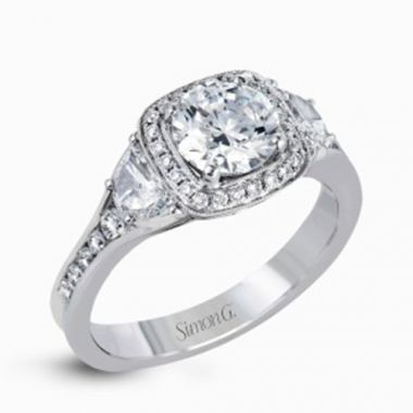 Simon G. 18k White Gold Diamond Engagement Ring