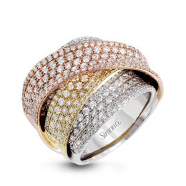 Simon G. 18k Tri Tone Gold Diamond Ring
