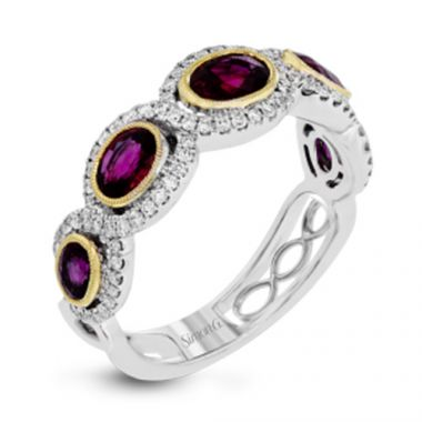 Simon G. 18k White Gold Diamond & Ruby Ring