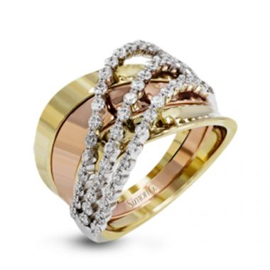 Simon G. 18k Tri Tone Gold Diamond Ring
