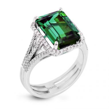 Simon G. 18k White Gold Diamond & Tourmaline Ring