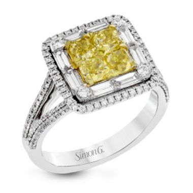 Simon G. 18k White Gold Yellow and White Diamond Ring