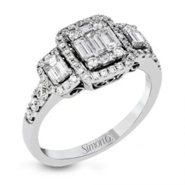 Simon G. 18k White Gold 3 Stone Halo Engagement Ring