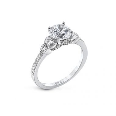 Simon G. 18k White Gold Diamond 3 Stone Engagement Ring