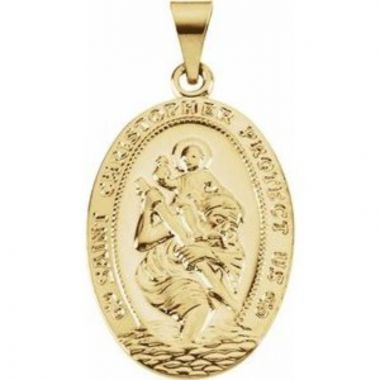 14K Yellow 25x17.5 mm St. Christopher Medal