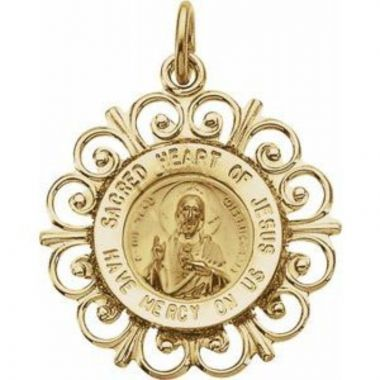 14K Yellow 18 mm Round Sacred Heart of Jesus Medal
