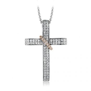 Simon G. 18k White Gold Diamond Cross Pendant