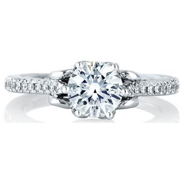 A. Jaffe 18k White Gold Designer Prong Set Engagement Ring