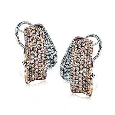 Simon G. 18k Two Tone Gold Diamond Earrings