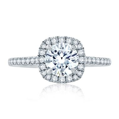 A. Jaffe 18K White Gold Cushion Halo Engagement Ring