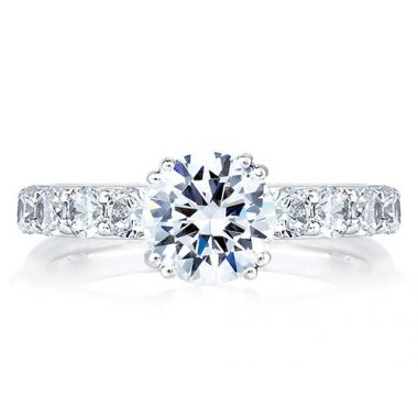 A. Jaffe 18k White Gold Timeless Classic Shared Prong Engagement Ring