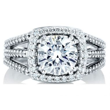 A. Jaffe 18k White Gold Show Stopper Halo Engagement Ring