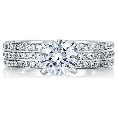 A. Jaffe 18k White Gold Three Row Shared Prong Diamond Engagement Ring