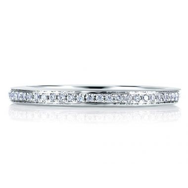 A. Jaffe 18k White Gold Classic Micro Pave Diamond Wedding Band