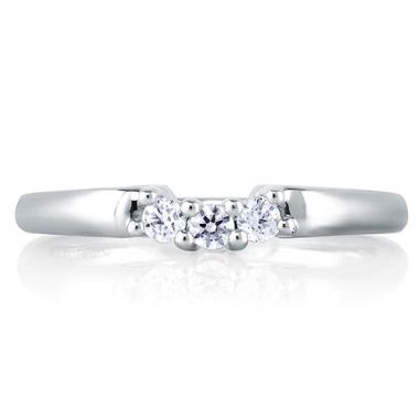 A. Jaffe 18k White Gold Delicate Three Stone Wedding Band