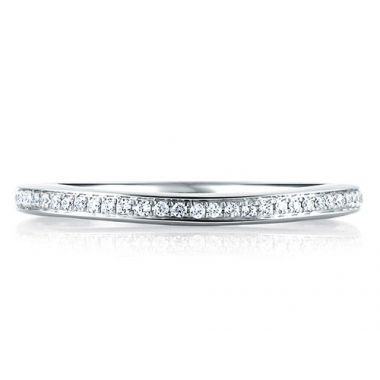 A. Jaffe 18k White Gold Dazzling French Pave Signature Diamond Wedding Band