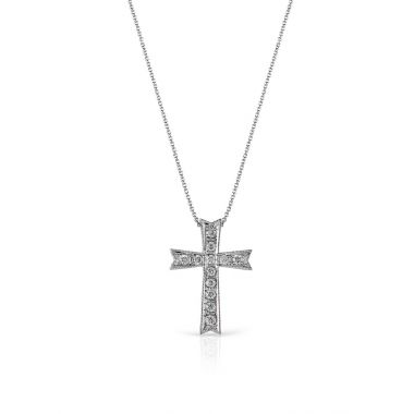 Simon G 18k White Gold 0.22ct Diamond Cross Pendant