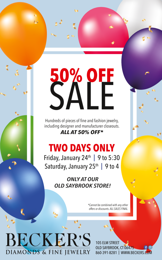 Old Saybrook 50% OFF Manufacturer's Closeout Sale Jan. 24 & 25